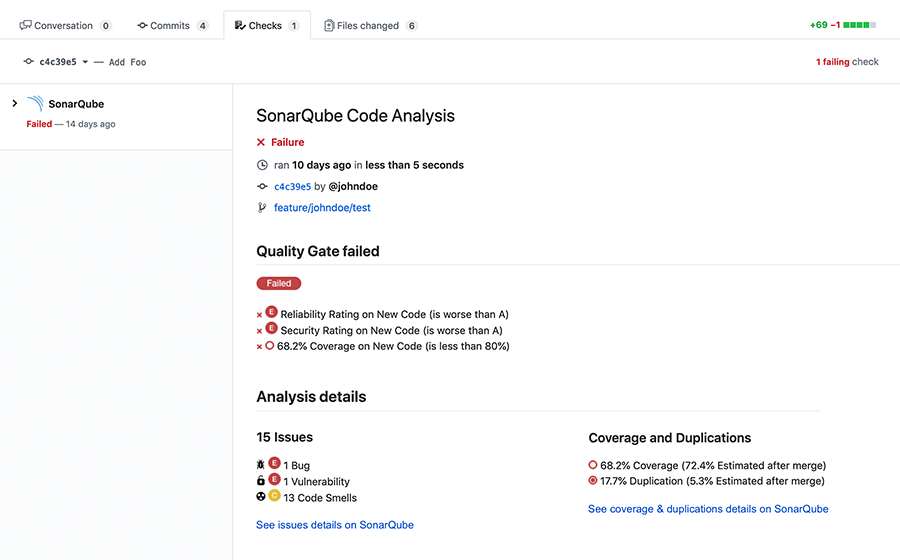 Your pull request from GitHub using SonarQube