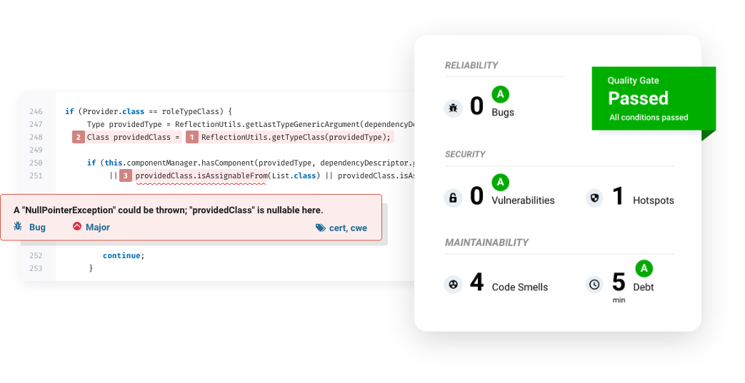 SonarQube detects coding issues during code review, and lets you track overall health of your codebase
